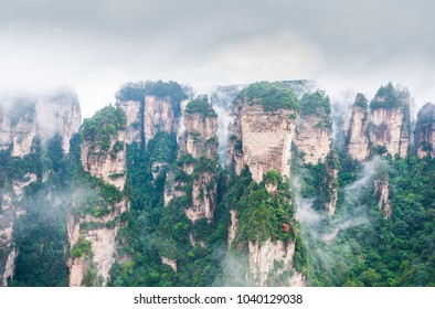 View of floating mountain under cloudy weather at Zhangjiajie National Forest Park, Hunan, China.