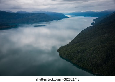 View from a Floatplane in Ketchikan, Alaska on an overcast Summer's day.