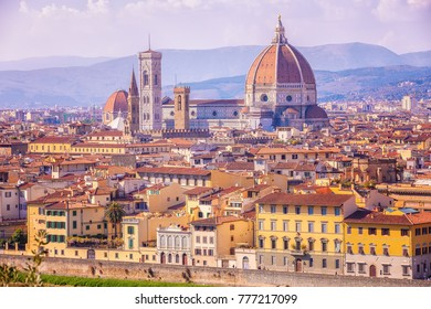 View of Florence from above, Cathedral Santa Maria del Fiore (Duomo), Italy