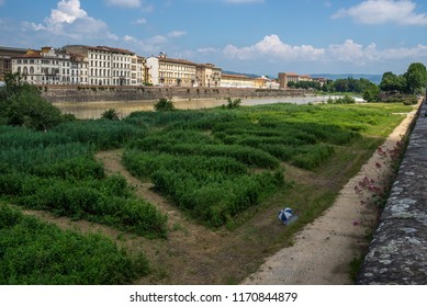 View of Florence from the banks of Arno river.