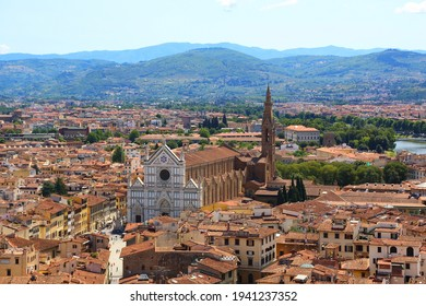 View of Florence and the basilica of Santa Croce. Italy