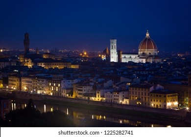 view of Florence at the evening time from the viewpoint.  province of Siena. Tuscany, Italy
