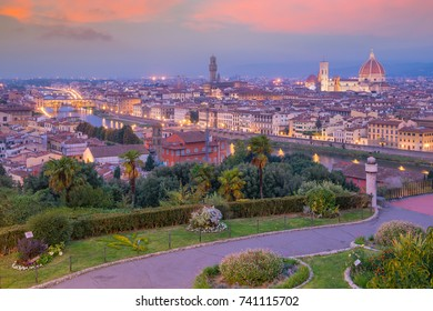 View of Florence skyline from top view in Italy