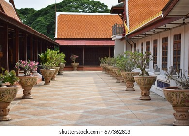 View of flowers in ceramic pot and pavilion in temple , Ayutthaya, Thailand