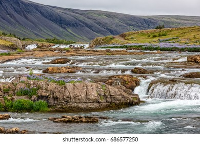 View of flowing river in Iceland