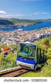 View from Floyen with lift in Bergen Norway