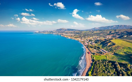 View from flying drone. Aerial view of Sciacca town, province of Agrigento, southwestern coast of Sicily, Italy, Europe. Superb spring seascape of Mediterranean sea. Traveling concept background.