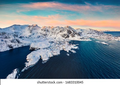 """View from flying drone of southernmost of Lofoten islands town, with exotic name - """"A"""", Norway, Europe. Bright morning seascape of Norwegian sea. Beauty of nature over polar circle."""