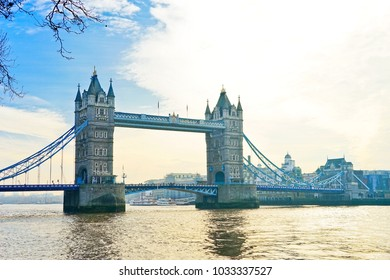 View fo Tower Bridge along with River Thames on a sunny day in London.