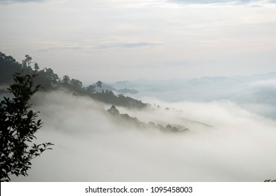 The view of fog wave and mist with mountains at Khao khai nui, Phangnga Thailand.