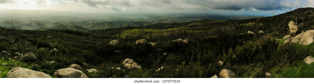 View from Foia mountain - Portugal, Algarve. Panorama.