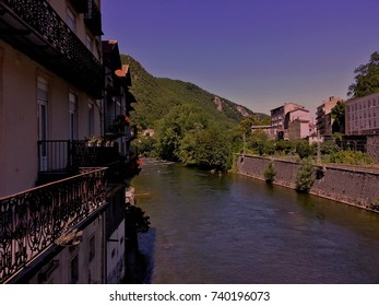 View of Foix village and Ariege river - Ariege / France