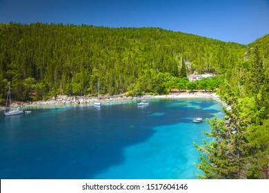 View of Foki Beach, Kefalonia, Ionian islands, Greece.