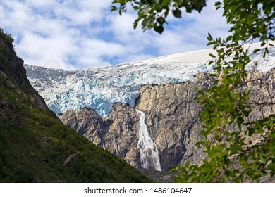 View to the Folgefonna Glacier. Folgefonna is a collective term for three plateau glaciers in the Hardanger region of Hordaland county, Norway. They are located on the Folgefonna peninsula.
