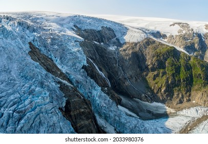 View to the Folgefonna Glacier from Reinanuten view point in Folgefonna national park, Norway