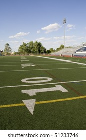 View of the football field from the ten yard line