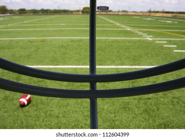 View of the Football Field through the Helmet Face Mask