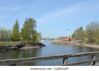 View from footbridge on Suomenlinna island towards the dry dock and shipyard
