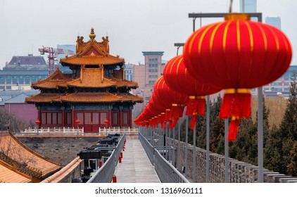 View of Forbidden City in Beijing decorated with auspicious red lanterns during Chinese New Year