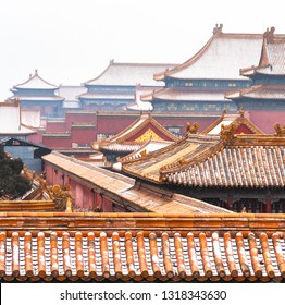 View of Forbidden City in snow (Beijing, China)