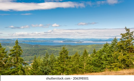 View of (foreground) San Juan, Spieden, Stuart, Johns, South Pender and (background) South Vancouver Islands, from Turtleback Mountain Preserve, Orcas Island, San Juan Islands, WA