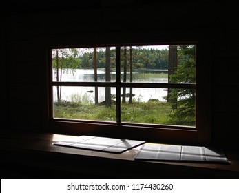 View of forest and lake through a sauna window