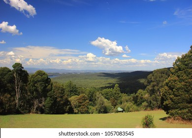 The view of forested mountain slope from Kalorama Park in Dandenong Ranges, Australia.