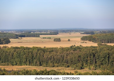 View of forests and farmlands in western Poland