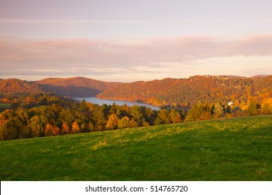 View form hill on the water dam Slapy.Autumn scenery.