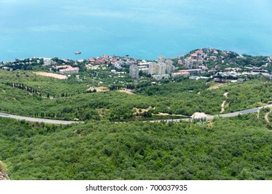 View of foros and the Black sea in the Crimea from the area near the foros Church.