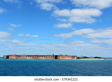 The view of Fort Jefferson at Dry Tortugas National Park from sea