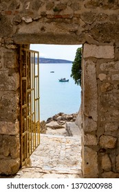 View from fort KRK.  Famous touristic town on Krk island, Croatia, Europe.