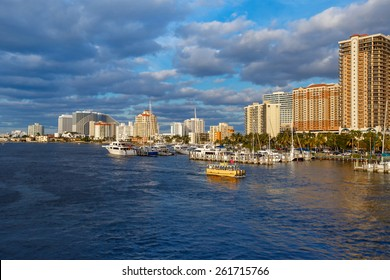 View of the Fort Lauderdale Intracoastal Waterway  on beautiful spring day