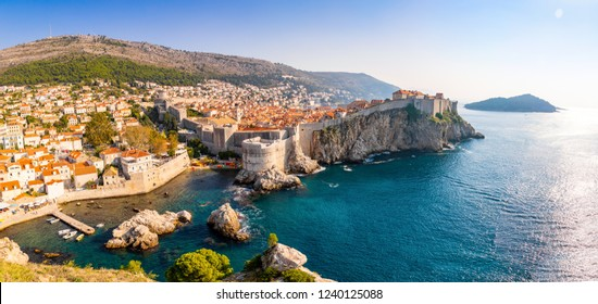 View from Fort Lovrijenac to Dubrovnik Old town in Croatia at sunset light, travel background