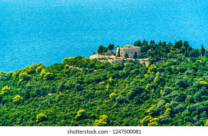 View of Fort Royal Castle on Lokrum Island near Dubrovnik in Croatia