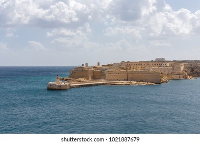 View from Fort St. Elmo towards Fort Ricasoli in Valletta, Malta.