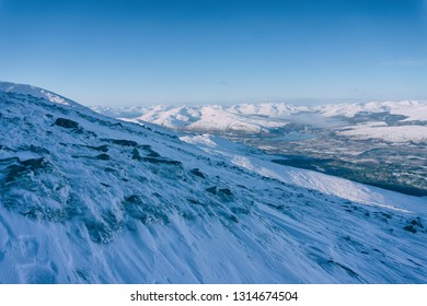 View of Fort WIlliam from the ski resort Nevis Range mountains during winter, Scotland.