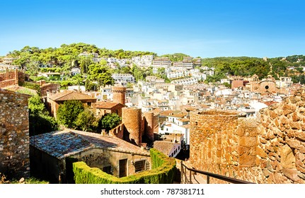 View of the fortified city of Vila Vella and the Old Town in Tossa de Mar. Costa Brava. Catalonia. Spain.