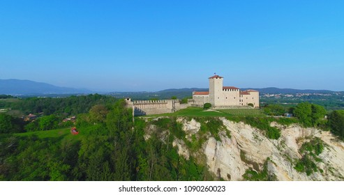 View of Fortress Borromeo of Angera, is castle of the lake Maggiore, Angera, Italy