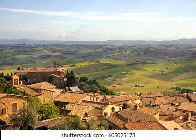 View from the fortress of Montalcino (XIV century) the city and the Val d'orcia. Tuscany, Italy