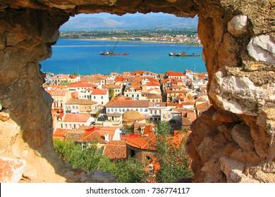 View from fortress in picturesque city of Nafplio former capital of Greece, Argolida, Peloponnese
