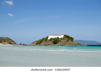 View to Fortress of San Mateus in Cabo Frio over the beach