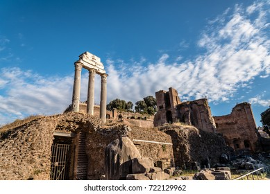 View of Forum of Rome a sunny summer day in Rome. It was for centuries the center of Roman public life.