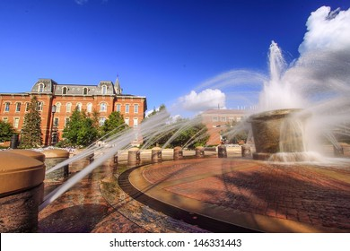 View of the fountain in the campus of Purdue University, West Lafayette, Indiana