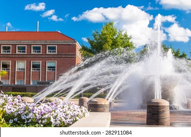 View of the fountain in the campus of Purdue University, West Lafayette, Indiana, in summer