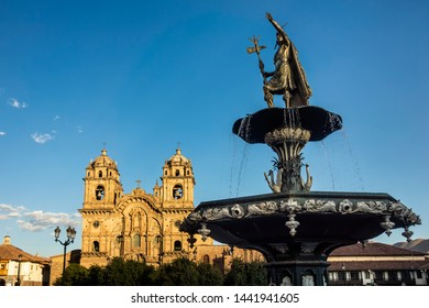 View of the fountain and the Church of the Company of Jesus. Plaza de Armas, Cusco, Peru, South America