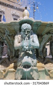 View of the fountain in the square of the people ( Pesaro Italy)
