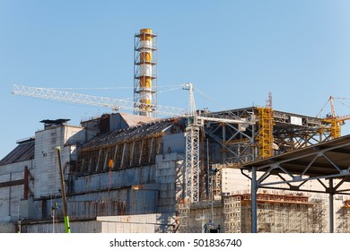 View of the fourth block of the Chernobyl nuclear power plant after 30 years the explosion at the nuclear power plant. USSR soviet union built. Chernobyl Exclusion Zone. Ukraine