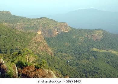 View of Fouta Djalon mountains from Mount Loura at sunrise