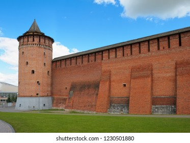 View of the fragment of the wall of the Kolomna Kremlin and the Marinkina Tower (1525-1531), landmark